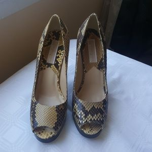 MICHAEL KORS 5 PYTHON SNAKE PRINT TAN LEATHER